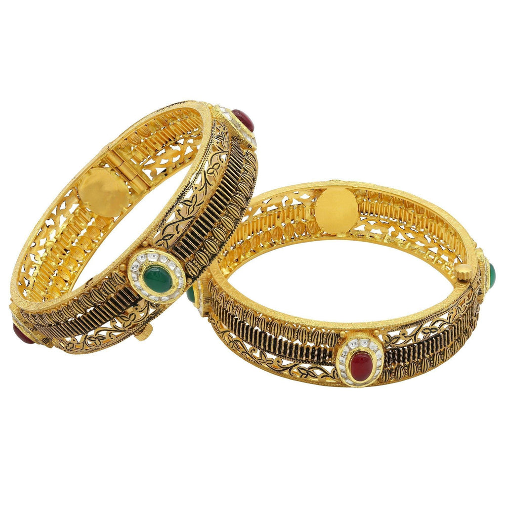 22K Antique Gold Kada Bangles, W/Ruby & Emerald, Set of 2 | 22K Antique Gold Kada Bangles, W/Ruby & Emerald, Set of 2 for women. Bangle features intricat...