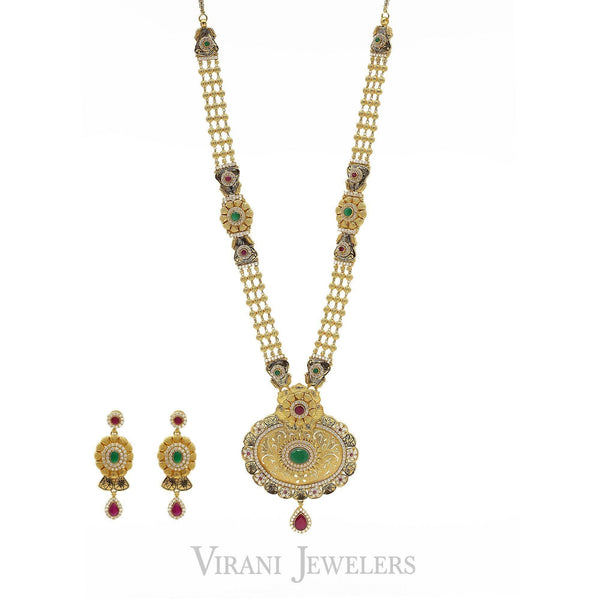 22K Antique Gold Finish Long Necklace & Earring Set W/ Beaded Accents | 22K Antique Gold Finish Long Necklace & Earring Set W/ Beaded Accents for Women. Beautiful an...
