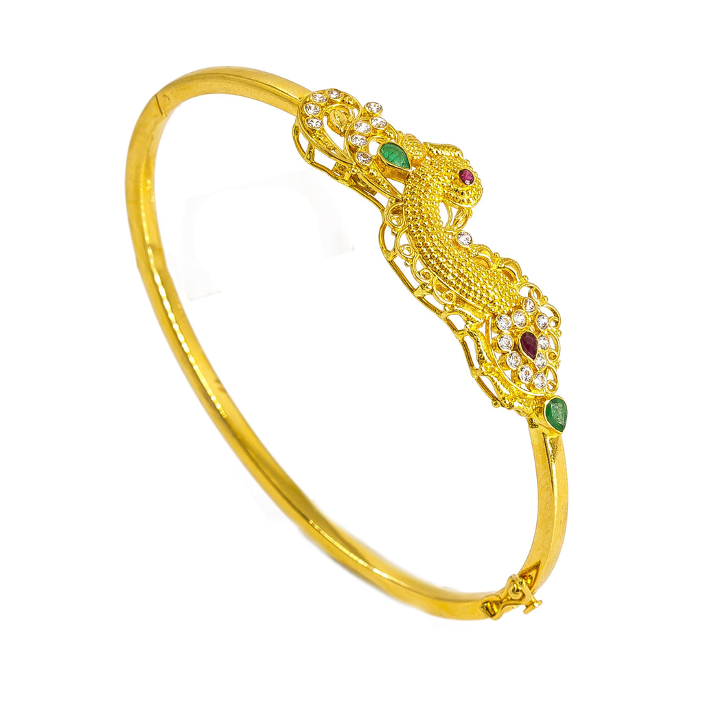 22K Yellow Gold Peacock Bangle W/ Emeralds, Rubies, & Cubic Zirconia | 22K Yellow Gold Peacock Bangle W/ Emeralds, Rubies, & Cubic Zirconia for women. This beautifu...
