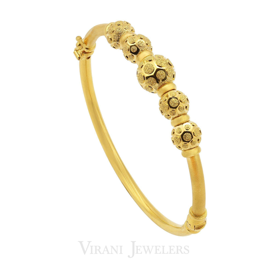 22K Yellow Gold Bangle W/ Honeycomb Patterned Beads | 22K Yellow Gold Bangle W/ Honeycomb Patterned Beads for women. Bangle features a double beaded fr...