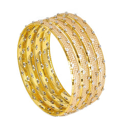 22K Multitone Gold Bangles W/ Cubic Zirconia Set of Four