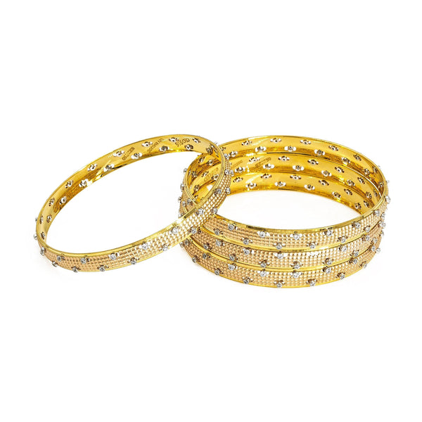 22K Multitone Gold Bangles W/ Cubic Zirconia Set of Four | 22K Multitone Gold Bangles W/ Cubic Zirconia Set of Four for women. Beautiful bangles in multiton...