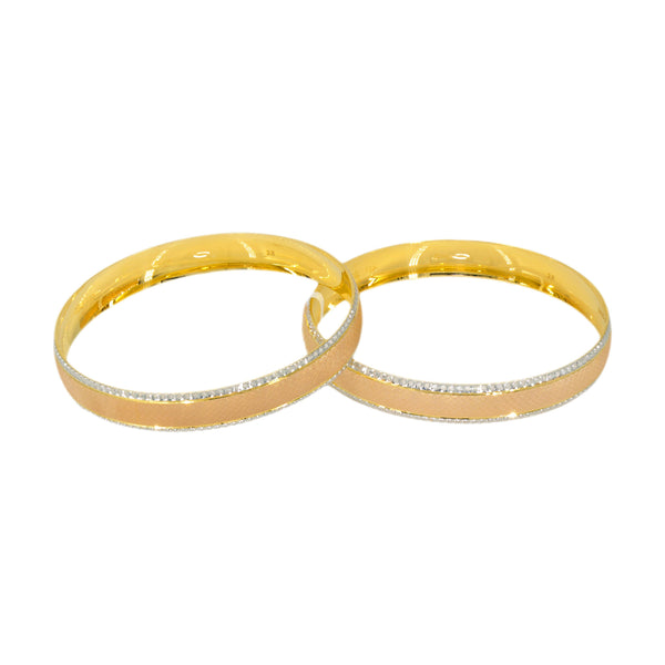 22K Yellow, White & Rose Gold Diamond Cut Gold Bangles, Set of 2 | 22K Yellow, White, & Rose Gold Diamond Cut Gold Bangles, Set of 2 for women. Bangles feature ...