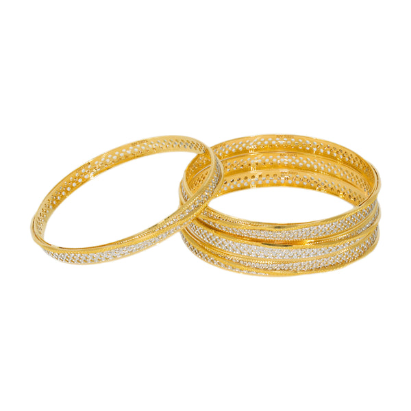 22K Multitone Diamond Cut Gold Bangles, Set of 4 |  22K Multitone Diamond Cut Gold Bangles, Set of 4 for women. Bangles feature a white and yellow g...