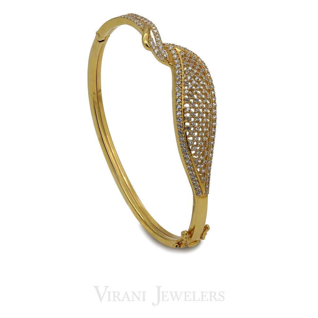22K Yellow Gold Bisou Bangle W/ Cubic Zirconia Stones | 22K Yellow Gold Bisou Bangle W/ Cubic Zirconia Stones for women. Bangle features a beautiful hanc...