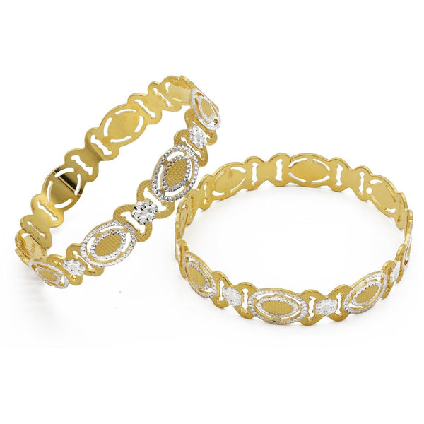 22K Two Tone Gold XO Bangles, Set of 2 | 22K Two Tone Gold XO Bangles, Set of 2 for women. Bangle frame features a yellow and white gold X...
