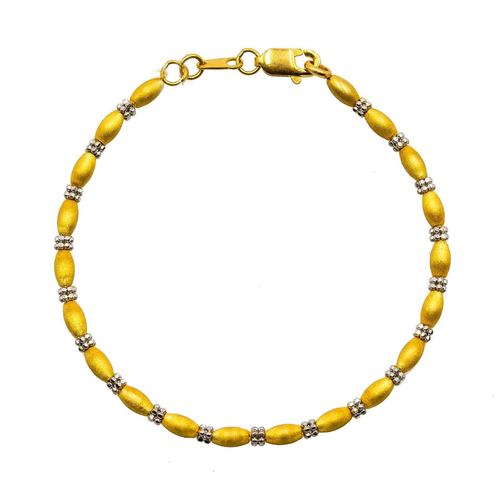 22K Multi Tone Gold Bracelet W/ Matte Oval Beads & Clustered Round Beads | Be subtly radiant with this most elegant 22K multi tone gold women's bracelet from Virani Jeweler...