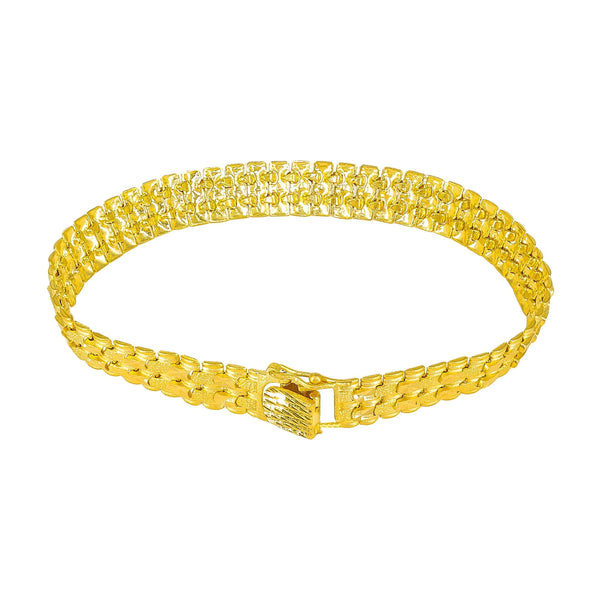22K Yellow Gold Flat Mesh Chain Bracelet for Men | 22K Yellow Gold Flat Mesh Chain Bracelet for Men. This classic style is 8.5 inches long and ends ...