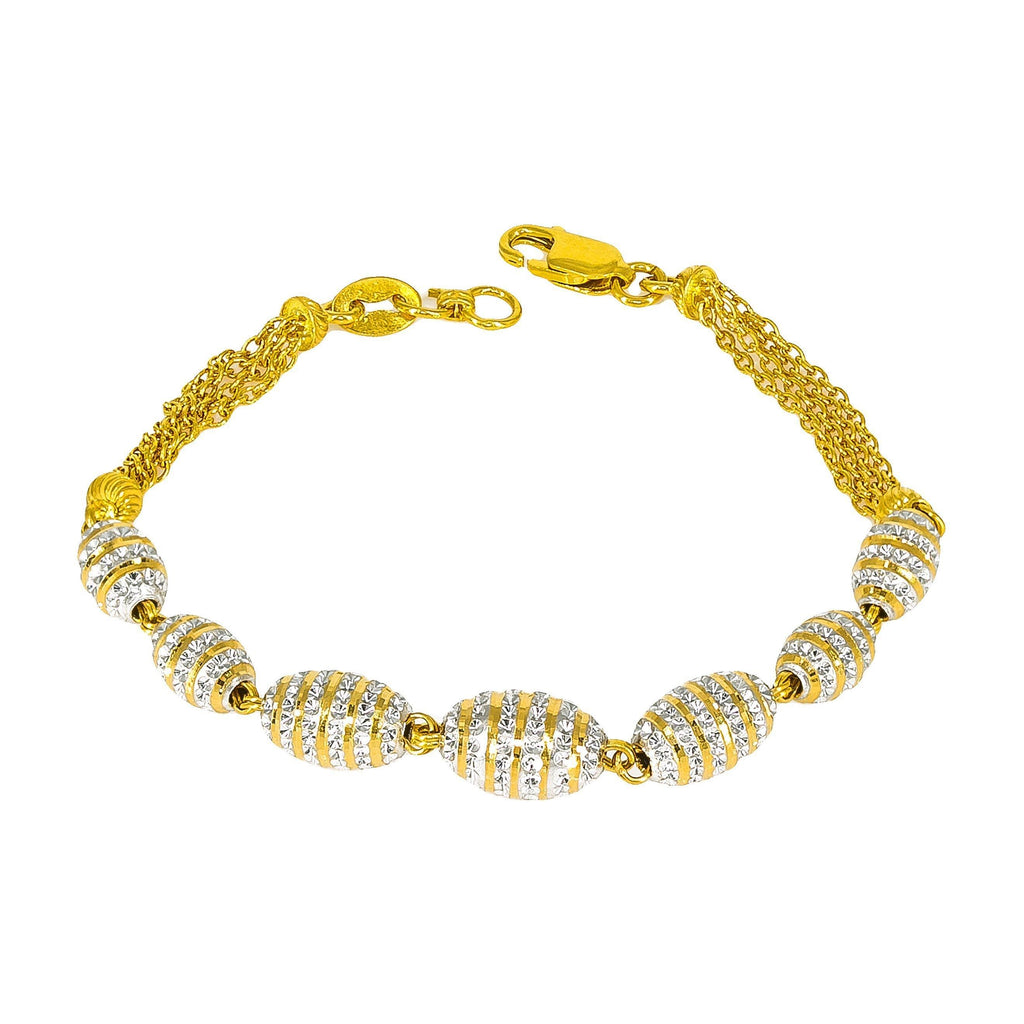 22K Multitone Gold Beaded Chain Bracelet | 22K Multitone Gold Beaded Chain Bracelet for women. This beautiful bracelet has multiple strands ...