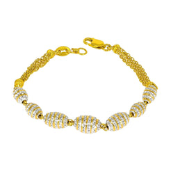 22K Multitone Gold Beaded Chain Bracelet