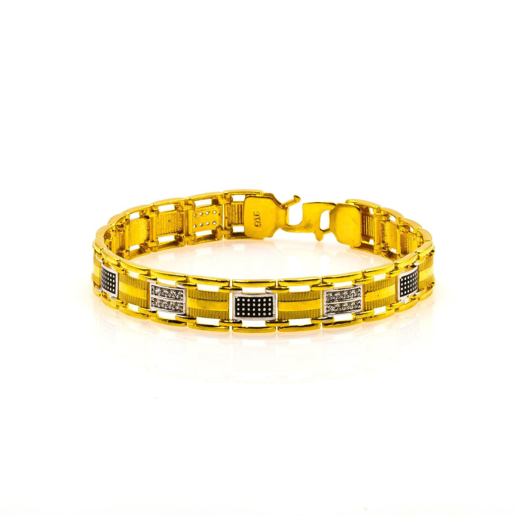 22K Multi Tone Gold Men's Bracelet W/ Precious CZ Gems & Black Hand Paint | Make a unique statement with this masculine-chic 22K multi tone men's bracelet from Virani Jewele...
