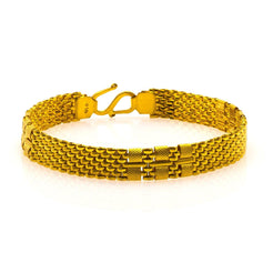 22K Yellow Gold Men's Bracelet W/ Brick Link & Cuff Accents