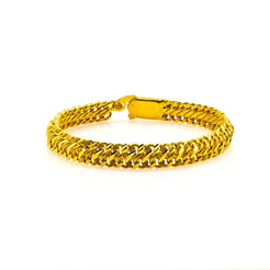 22K Yellow Gold Men's Bracelet W/ Heavy Loop Link & Etched Details, 18.6gm