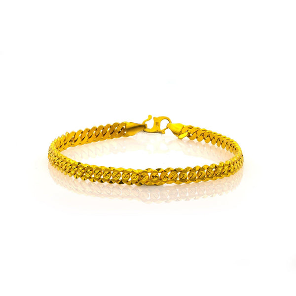 22K Yellow Gold Men's Bracelet W/ Cuban Link & Engraved Ripple Details, 18.4 grams | 22K Yellow Gold Men's Bracelet W/ Cuban Link & Engraved Ripple Details.