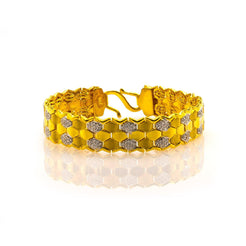 22K Yellow Gold Men's Bracelet W/ CZ Gems & Hexagon Tile Link