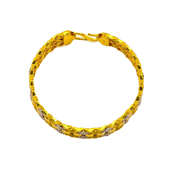 22K Yellow Gold Men's Bracelet W/ CZ Gems & Hexagon Tile Link | Add a unique accent to your masculine-chic look with this 22K yellow gold men's bracelet from Vir...