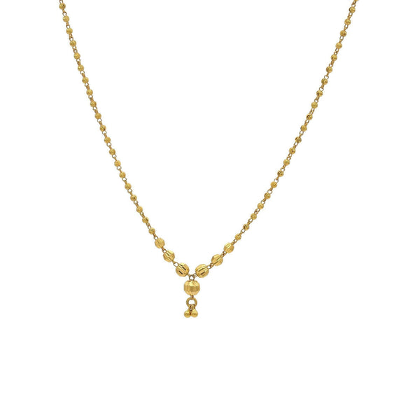 22K Yellow Gold Beaded Chain Necklace W/ Textured Engravings | 22K Yellow Gold Beaded Chain Necklace W/ Textured Engravings for women. Necklace features texture...