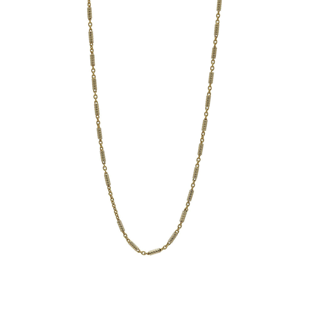 22K Yellow Gold Pill Link Chain Necklace | 22K Yellow Gold Pill Link Chain Necklace. Necklace features engraved pill link beads. Total weigh...