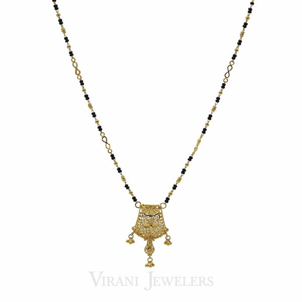 22K Yellow Gold Mangalsutra Beaded Chain Necklace W/ Infinity Design Accent | 22K Yellow Gold Mangalsutra Beaded Chain Necklace W/ Infinity Design Accent for women. Necklace f...