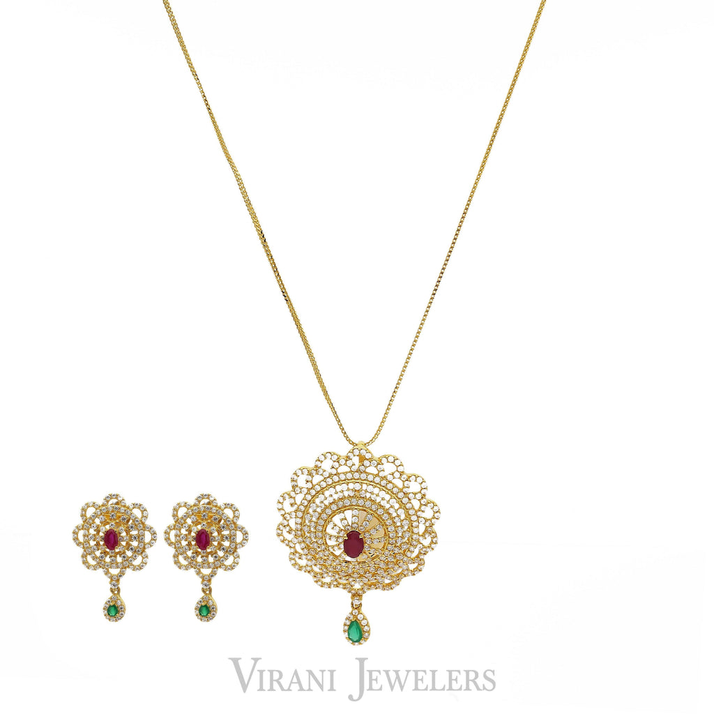 22K Yellow Gold Short Peacock Pendant Necklace & Earrings Set W/Multi Gems | 22K Yellow Gold Short Peacock Pendant Necklace & Earrings Set W/Multi Gems. Necklace features...