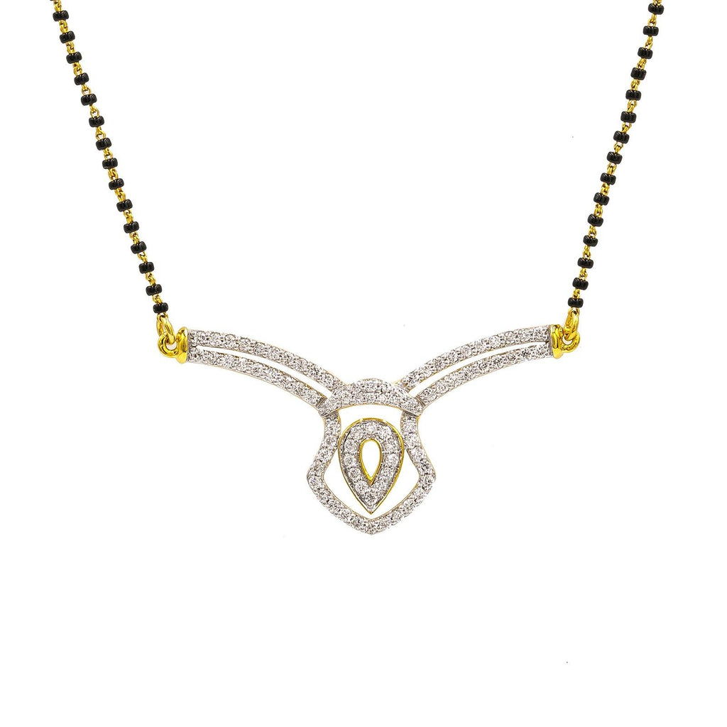 18K Yellow Gold Diamond Mangalsutra Necklace W/ 0.84ct VS-SI Diamonds |  18K Yellow Gold Diamond Mangalsutra Necklace W/ 0.84ct VS-SI Diamonds for women. This beautiful ...