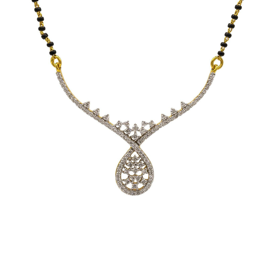 18K Yellow Gold Diamond Mangalsutra Necklace W/ 0.63ct VS-SI Diamonds | sold 18K Yellow Gold Diamond Mangalsutra Necklace W/ 0.63ct VS-SI Diamonds for women. This beauti...