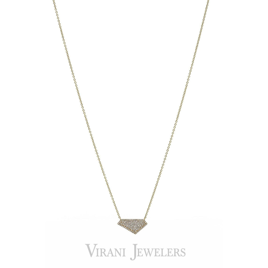 .28CT Diamond Pave Geometric Pendant set in 14K Yellow Gold | .28CT Diamond Pave Geometric Pendant set in 14K Yellow Gold for women. Minimal necklace features ...