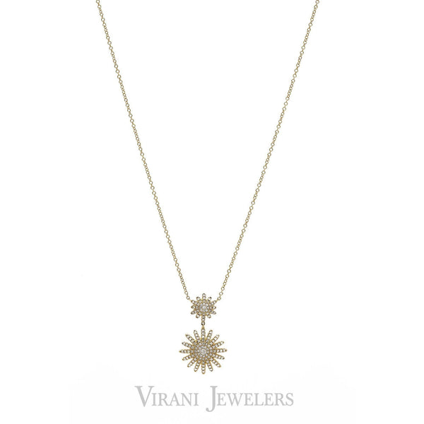 0.32CT Diamond Dual Pendant Necklace set in 14K Yellow Gold | 0.32CT Diamond Dual Pendant Necklace set in 14K Yellow Gold for Women. Necklace features a double...