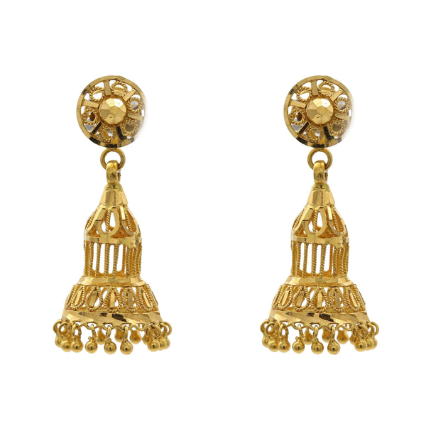 22K Yellow Gold Chandelier Jhumki Earrings W/ Floral Shape Top |  22K Yellow Gold Chandelier Jhumki Earrings W/ Floral Shape Top for women. Earrings feature open ...