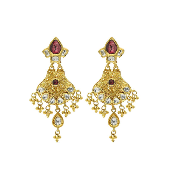 22K Gold Handcrafted Chandelier Earrings W/ Kundan & Ruby Accents | 22K Gold Handcrafted Chandelier Earrings W/ Kundan & Ruby Accents for women. Ring feature han...