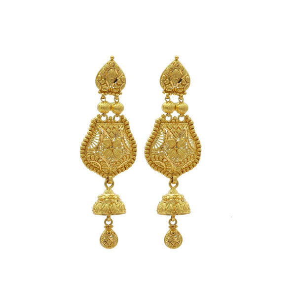 22K Yellow Gold Handcrafted Chandelier Jhumki Earrings W/ Ball Accents | 22K Yellow Gold Handcrafted Chandelier Jhumki Earrings W/ Ball Accents for women. Handcrafted jhu...