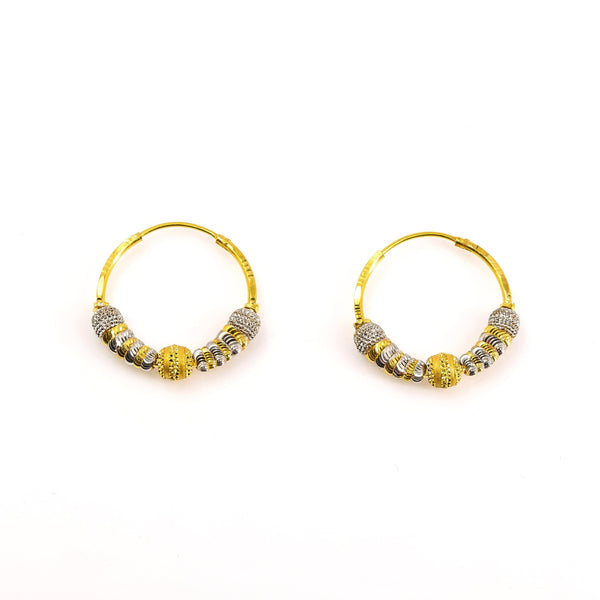 22K Two-Tone Gold Beaded Hoop Earrings | 22K Multitone Gold Beaded Hoop Earrings for women. White and yellow gold diamond cut beaded detai...