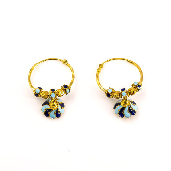 22K Antique Gold Beaded Hoop Earrings W/ Floral Drop & Enamel | 22K Antique Gold Beaded Hoop Earrings W/ Floral Drop & Enamel for women. Gorgeous diamond cut...