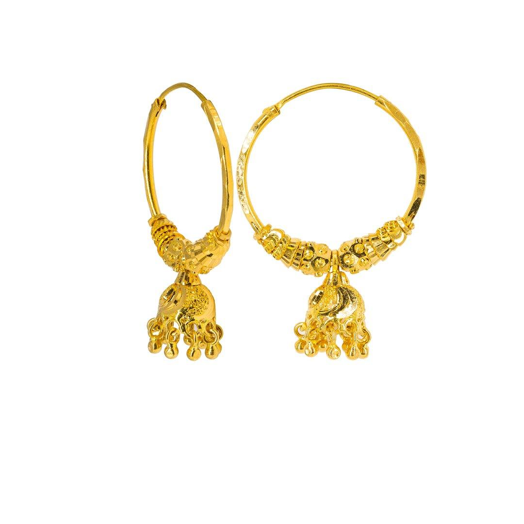 22K Yellow Gold Hoop Earrings W/ Gold Caps & Hanging Accents, 6.4 grams