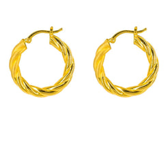 22K Yellow Gold Hoop Earrings W/ Twisted Design
