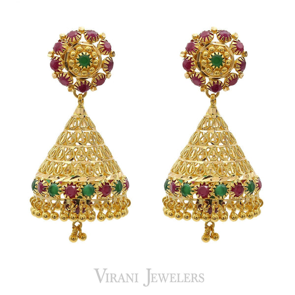 22K Yellow Gold Flower Jhumkis Drop Earrings W/ Rubies & Emeralds | 22K Yellow Gold Flower Jhumkis Drop Earrings W/ Rubies & Emeralds for women.Total weight is 1...