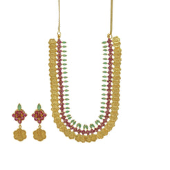 22K Gold Ruby Emerald Floral Kasu Necklace & Earrings Set - Virani Jewelers