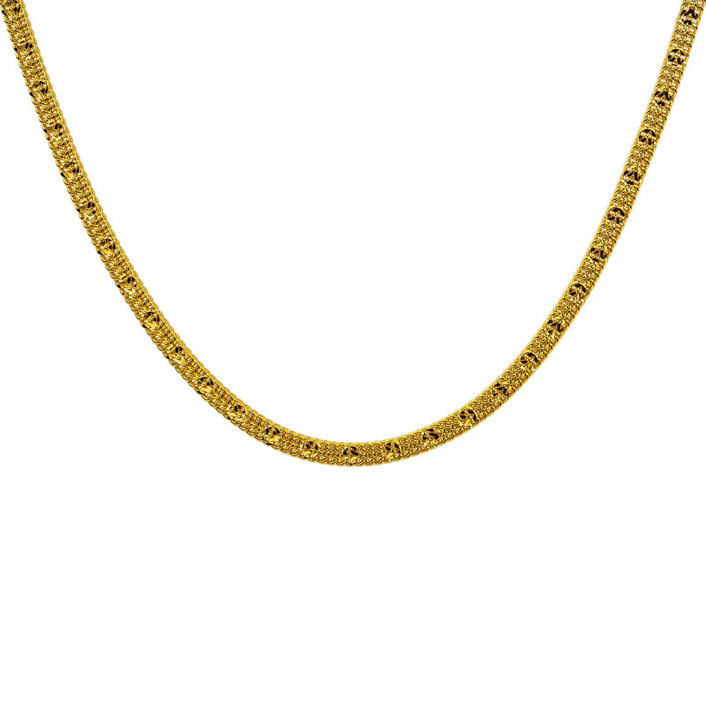 22K Yellow Gold Men's Chain W/ Cubed Curb Link | Give yourself the gift of luxury by ordering this 22K men's chain from Virani Jewelers!Features: ...