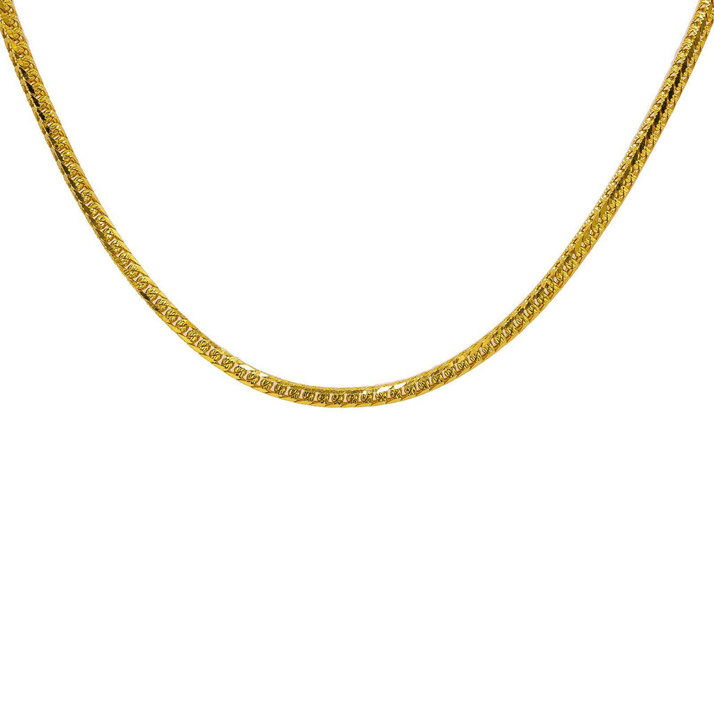 22K Yellow Gold Men's Chain W/ Curb Heavy Link & Etched Details - Virani Jewelers | Add the best 22K Indian gold to your collection with this stunning men's gold chain from Virani J...
