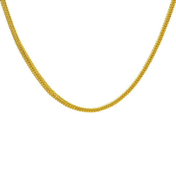 22K Yellow Gold Men's Chain W/ Gold Ball & Double Curb Link, 22"