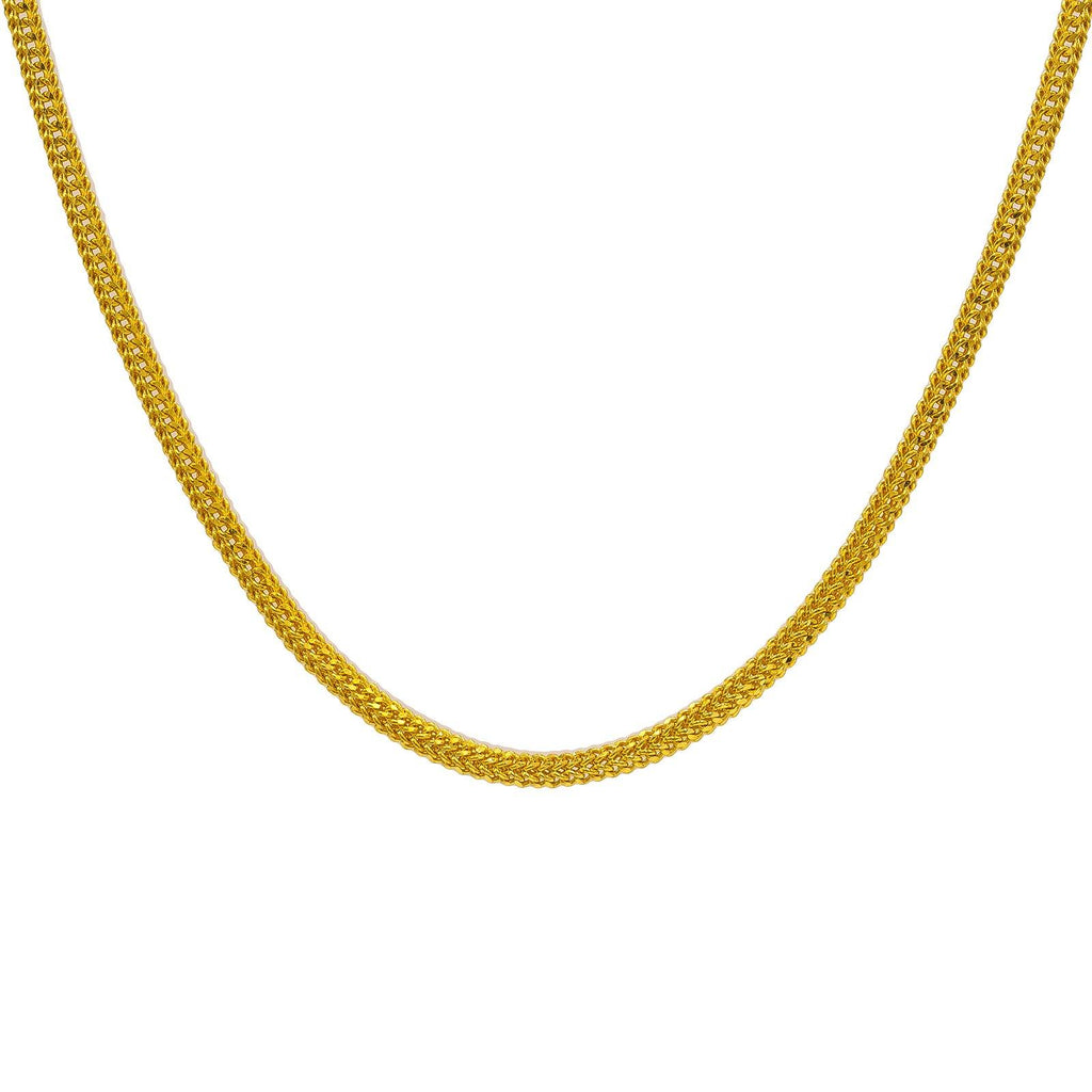22K Yellow Gold Men's Chain W/ Braided Curb Link |  22K Yellow Gold Men's Chain W/ Braided Curb Link. Add a classic touch of gold to daily attire wi...
