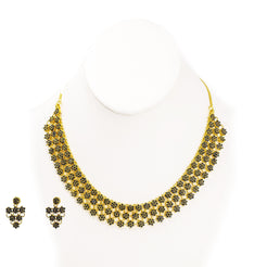 22K Yellow Gold Necklace & Earrings Set in Floral Design W/ Genuine Sapphire