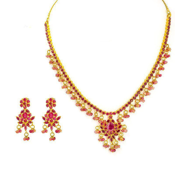 22K Gold Necklace and Earrings Set W/ Rubies | 34mm max width necklace W/ 2.5mm chain to back & hook closure. 48 grams total, 34.3 neck, 13....