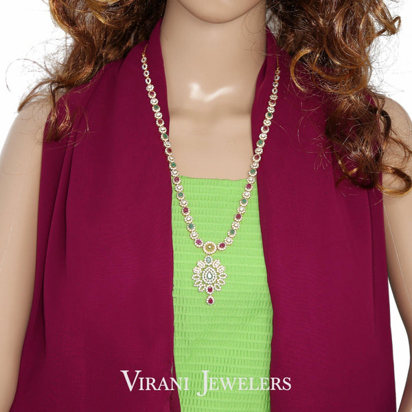 22K Gold Cable Link Necklace & Drop Earrings W/ Ruby, Emerald, & CZ Stones | 22K Gold Cable Link Necklace & Drop Earrings W/ Ruby, Emerald, & CZ Stones for women. Nec...