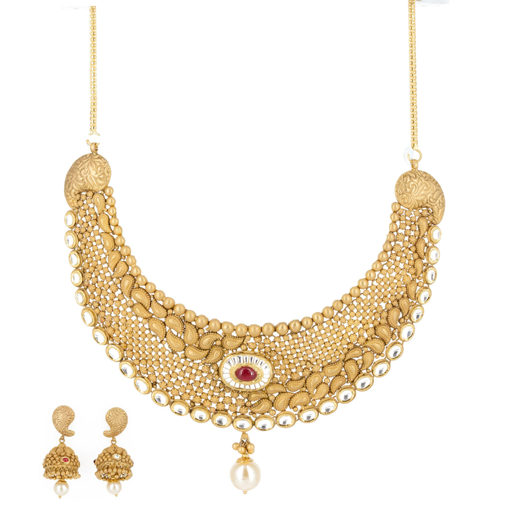 22k Gold Ruby Pearl Necklace and Earrings Set |
