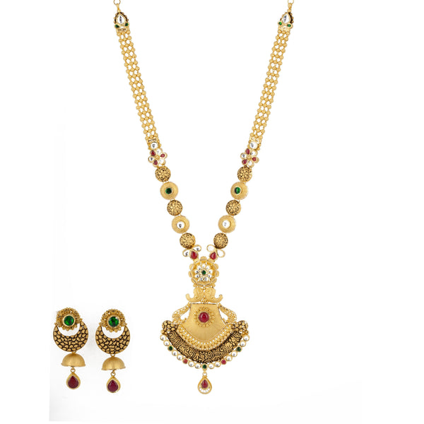 22k Antique Gold Long Pendant Necklace & Chandbali Earrings Set W/ Ruby, Emerald, & Kundan | 22k Antique Gold Long Pendant Necklace & Chandbali Earrings Set W/ Ruby, Emerald, & Kunda...
