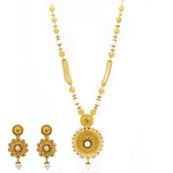 22K Yellow Gold Necklace & Earrings Set W/ Emeralds, Rubies, CZ Gems, Sapphires & Pearls