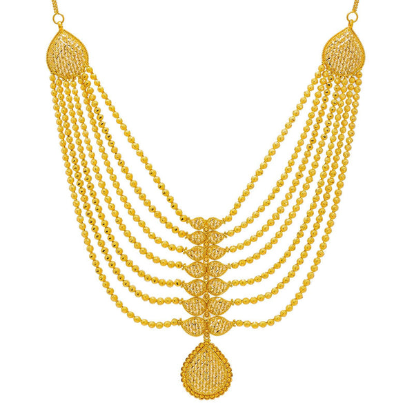 22K Yellow Gold Necklace & Earrings Set W/ Draped Gold Ball Strands |  22K Yellow Gold Necklace & Earrings Set W/ Draped Gold Ball Strands for women. This radiant ...