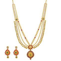22K Yellow Gold Necklace & Earrings Set W/ Emeralds, Rubies, CZ Gems & Pear Pendants