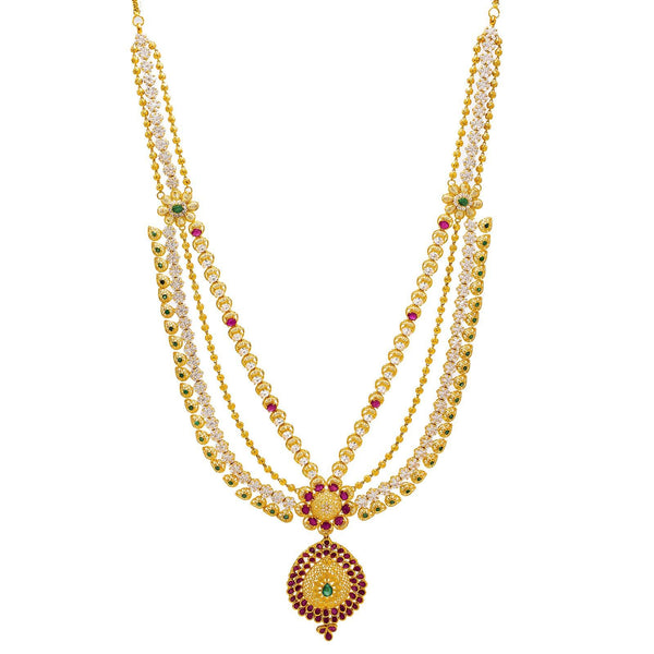 22K Yellow Gold Necklace & Earrings Set W/ Emeralds, Rubies, CZ Gems & Pear Pendants |  22K Yellow Gold Necklace & Earrings Set W/ Emeralds, Rubies, CZ Gems & Pear Pendants for...